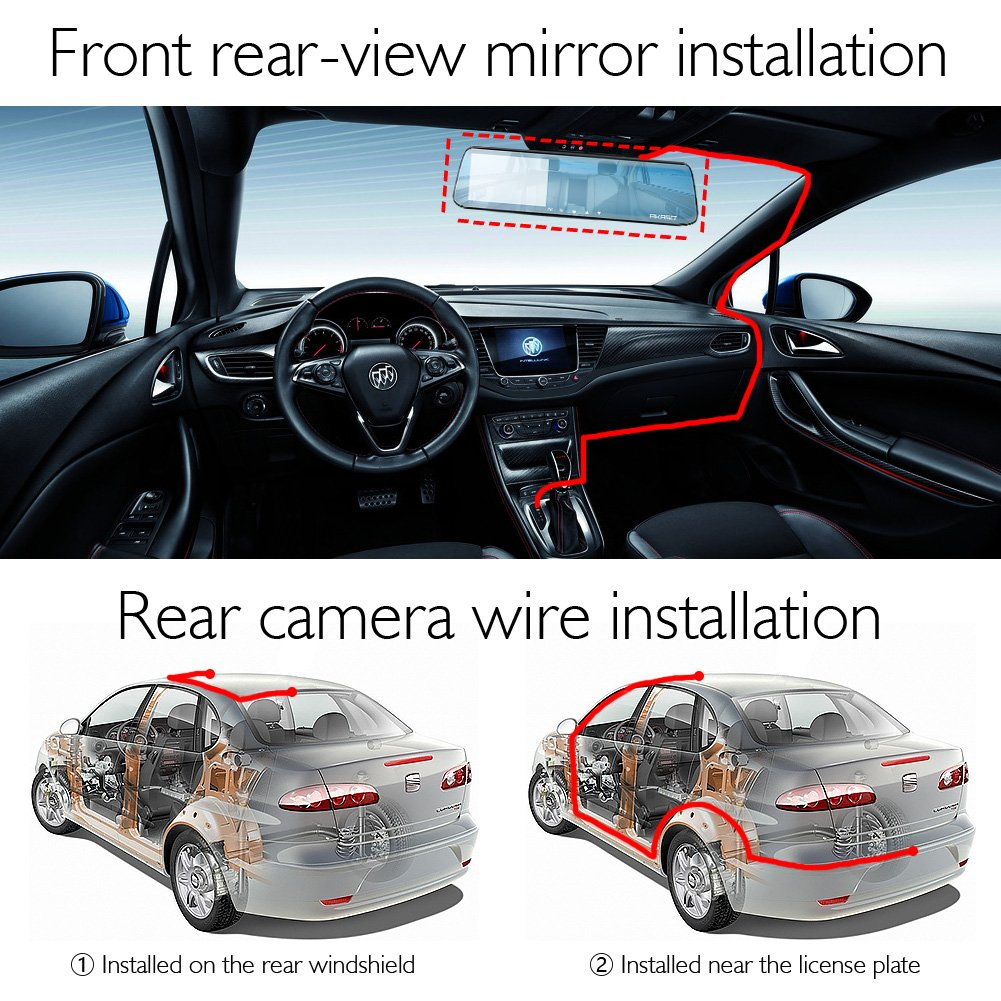 AKASO Mirror Dash Cam 1080P 5 Inch Touch Screen Dash Camera Front and Rear Dashcam with G-Sensor, Night Vision, Reversing Camera, Parking Monitor by AKASO (Image #5)