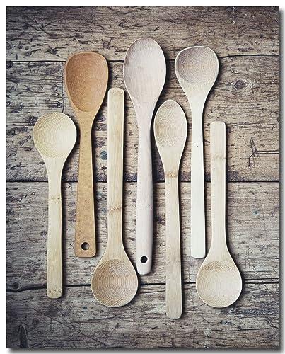 Amazon Com Farmhouse Kitchen Wall Art Brown Wooden Spoons