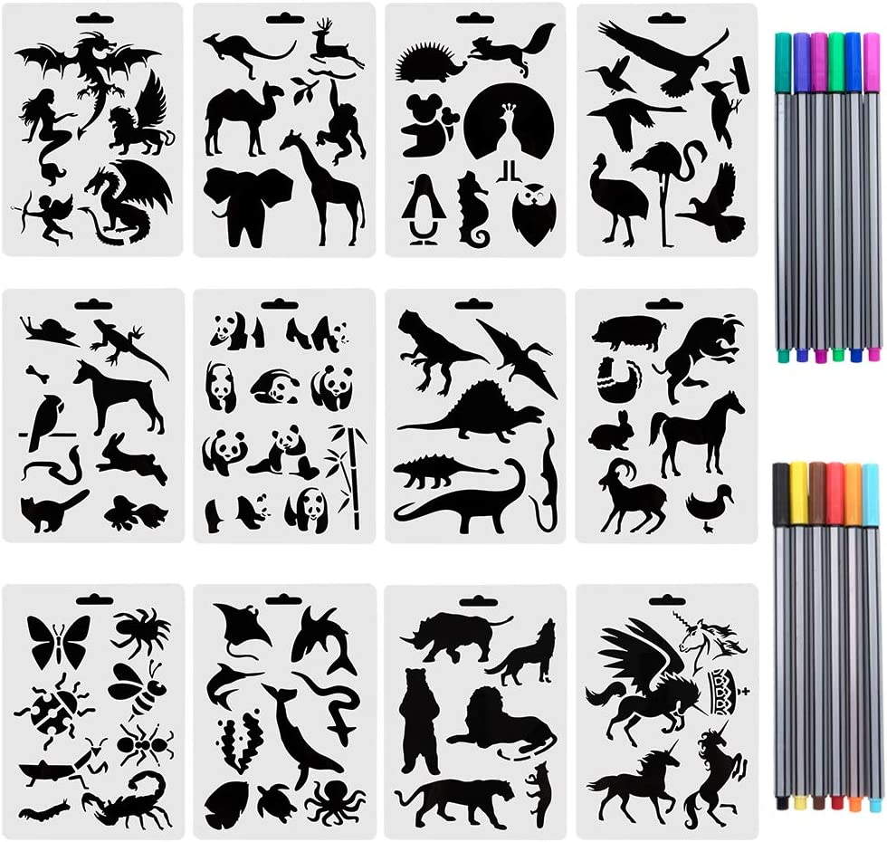 URlighting Drawing Animal Stencils Set(12 Pcs) Painting Templates with 12 Fineliner Color Pen for Children Creation, Animal Education, School Projects, Scrapbooking, Kids DIY Crafts