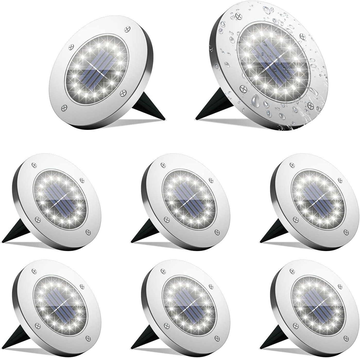 SolarGround Lights,(16 LED)Solar DiskLights, Solar Outdoor Lights Waterproof, Prisame LandscapeLightsforGarden, Pathway, Yard, Patio, Walkway, Grounds(8 Pack)