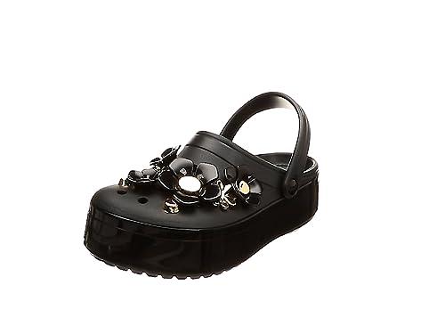 d90903f1bcd Crocs Unisex's Crocband Platform Metallic Blooms Clog, Black, 4 Women / 2 M  US