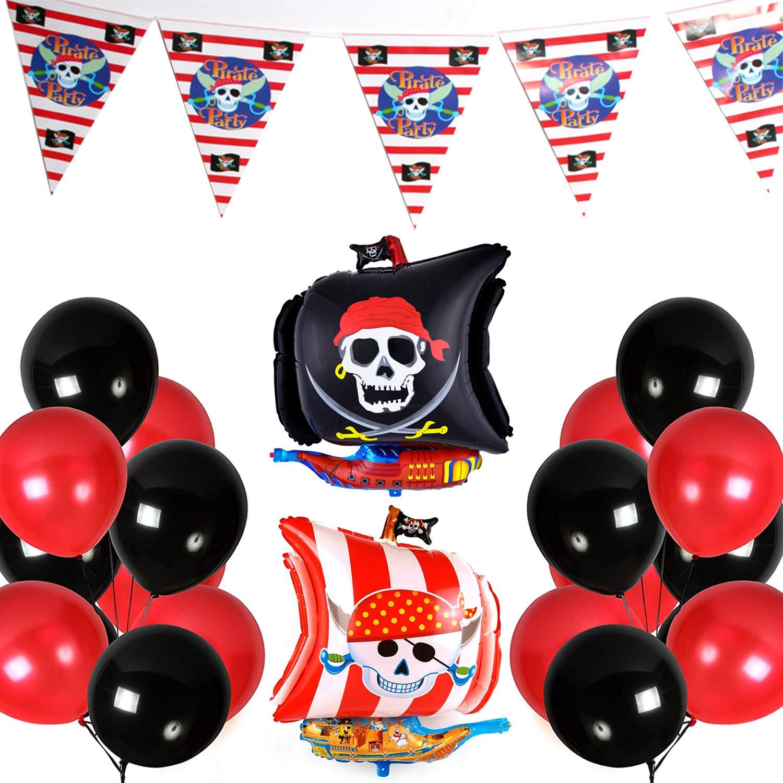 SKULL AND CROSSBONES LATEX BALLOONS 6 ~ Birthday Party Supplies Helium Decor