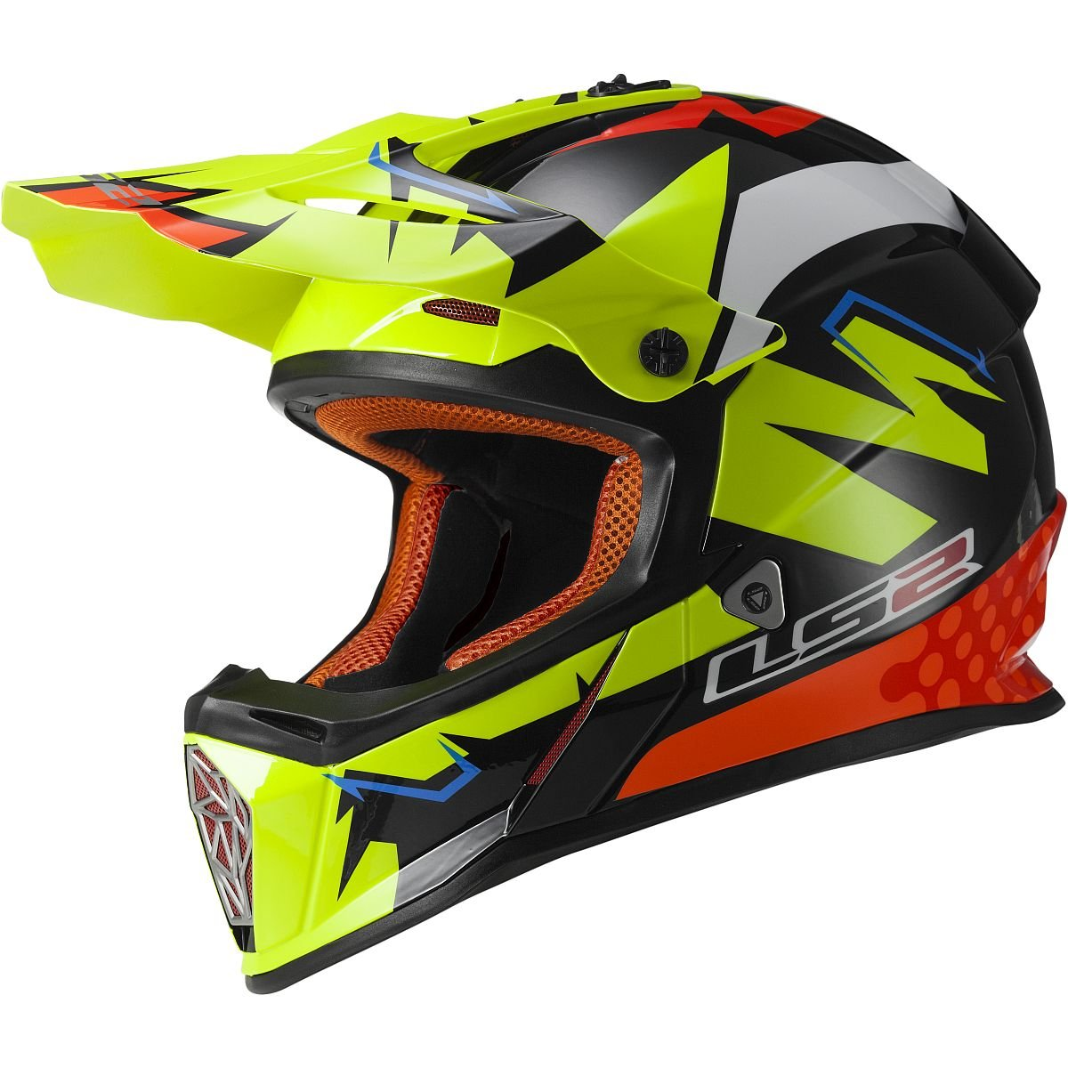 LS2 Helmets Fast Mini Explosive Youth Off-Road MX Motorcycle Helmet (Yellow, Large)