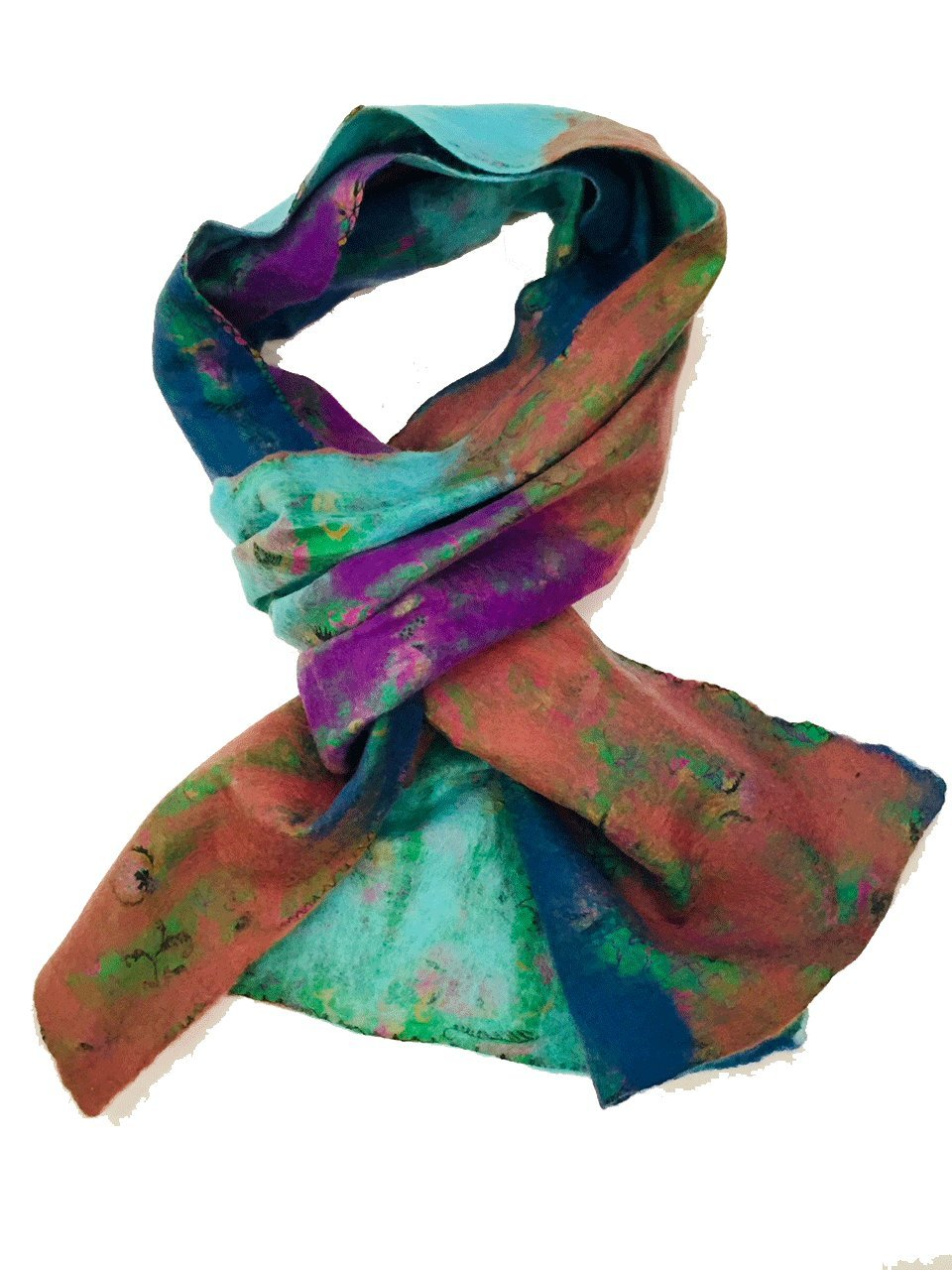 Teramasu One of a Kind Handmade Silk Merino Wool Multicolored Artist Scarf Style 3
