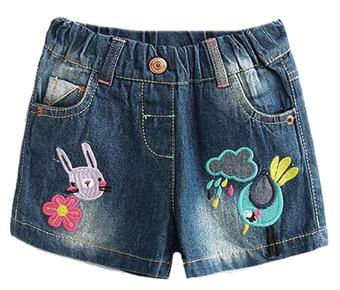 NQ niña Casual conejo flores bordado corto pantalones ...