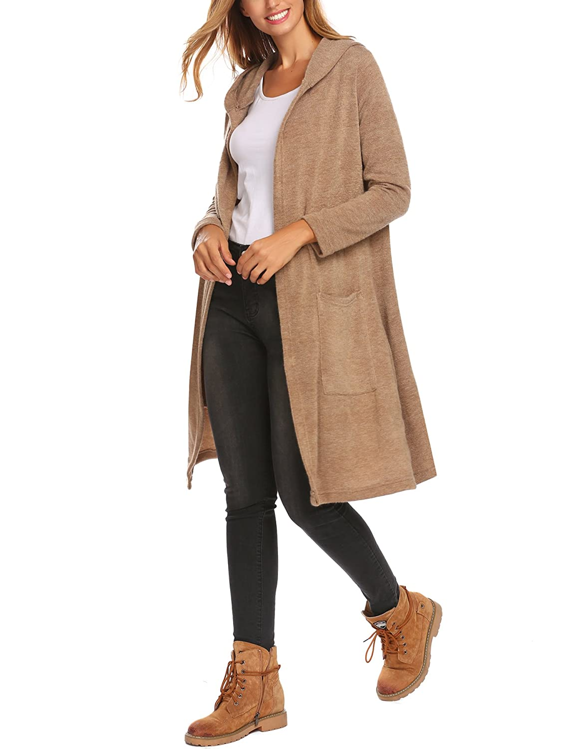SummerRio Womens Casual Long Sleeved Open Front Breathable Cardigans with Pocket