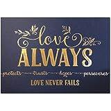 Love Never Fails Wall Decor - 5x7 Navy and Gold Wall Art, Metallic Gold Foil Love Wall Decor (UNFRAMED Inspirational…