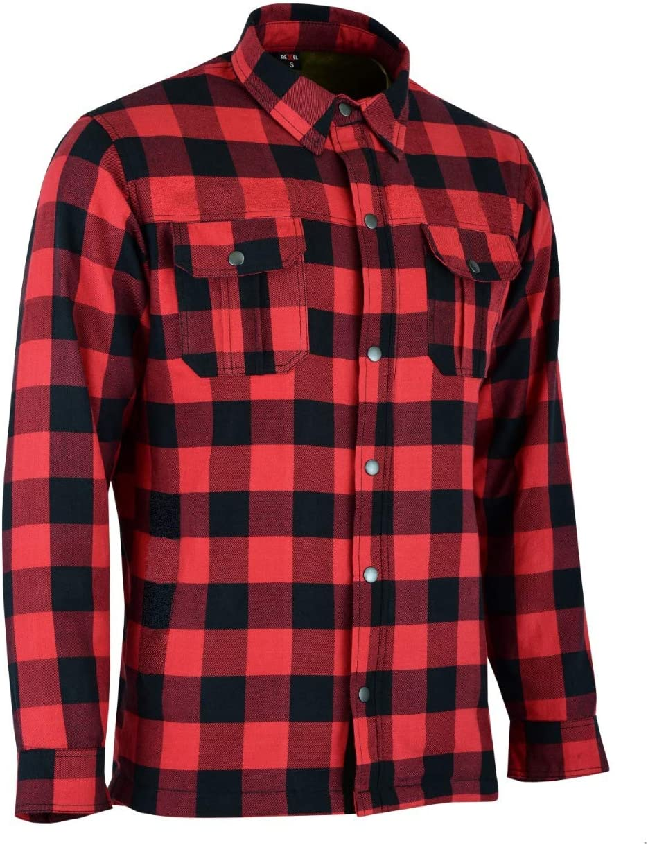 Red and Black, X-Small Motorbike Motorcycle Lumberjack Kevlar Shirt Fully Protected with Removable CE Armoured Premium Quality Flannel 2 Colors All Sizes