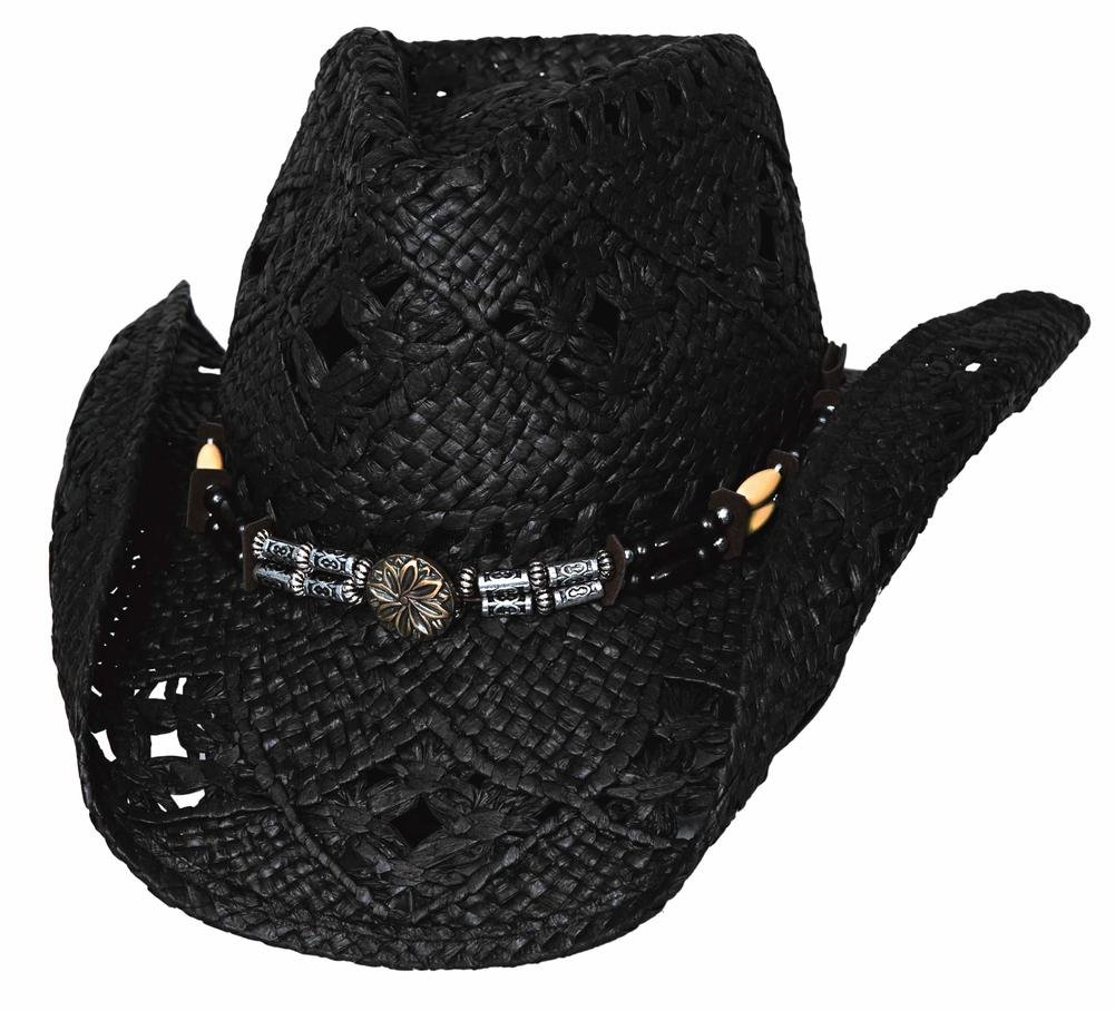 Bullhide Montecarlo All Summer Long Woven Toyo Straw Western Hat Lg/xLg Black