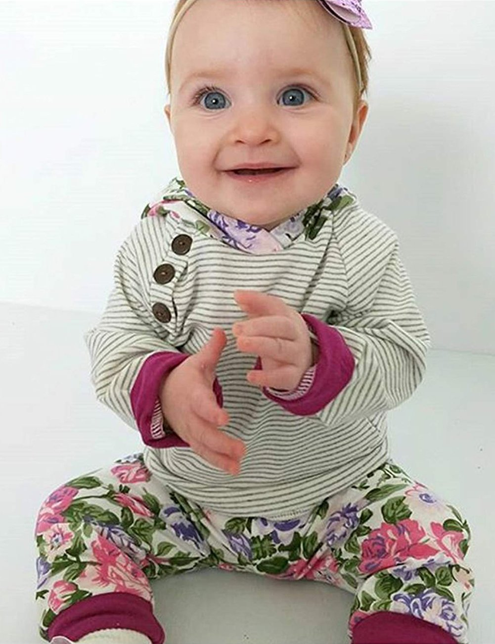 Baby Girls Long Sleeve Flowers Hoodie Tops and Pants Outfit with Kangaroo Pocket Headband (0-6 Months) by Oklady (Image #2)