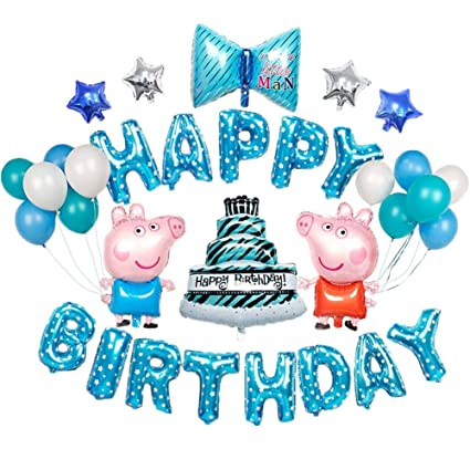 Peppa Pig Balloons Boys Birthday Party Decorations Blue Happy Cakes Cute Theme