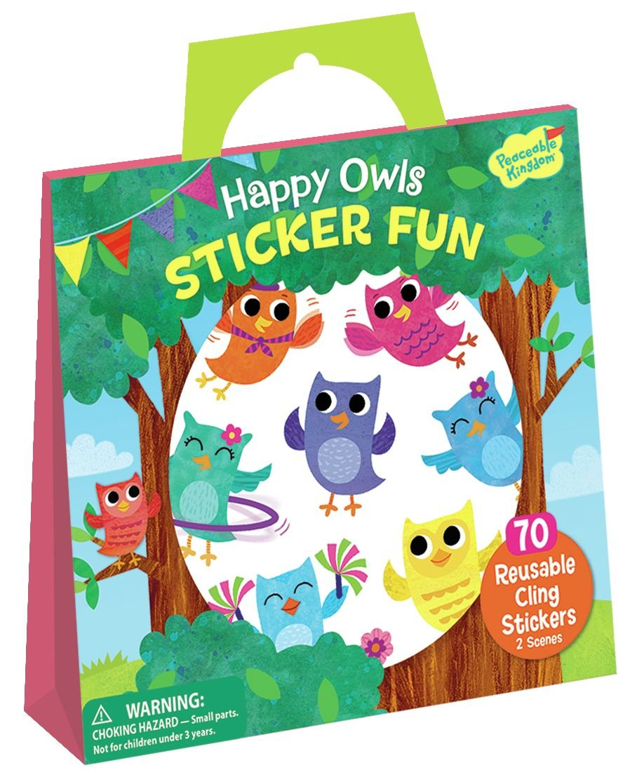 Peaceable Kingdom Happy Owls Sticker Fun Reusable Sticker Tote