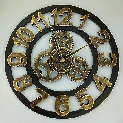 Y-Hui Salón Retro Reloj de pared Reloj de pared Reloj de engranajes Industrial Air