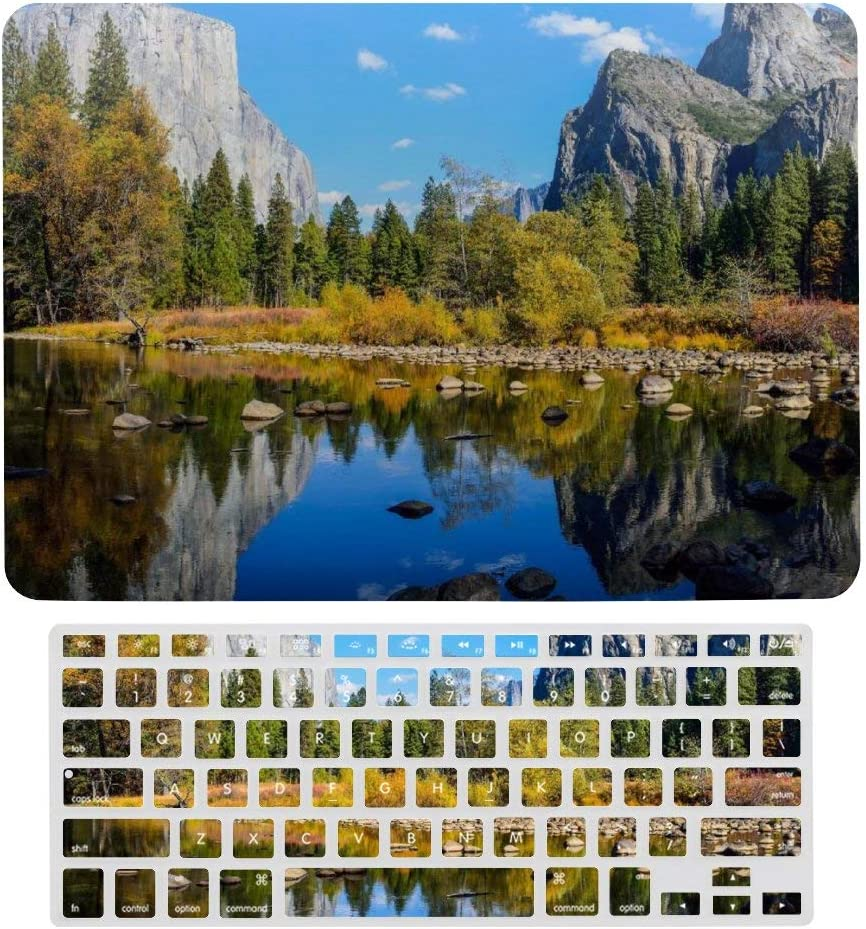 MacBook Air 13 Inch Case(A1369 & A1466, Older Version 2010 2017 Release), Plastic Hard Protective Laptop Case Shell with Keyboard Cover, Yosemite National Park Lake Rocks Mountains Autumn Nature