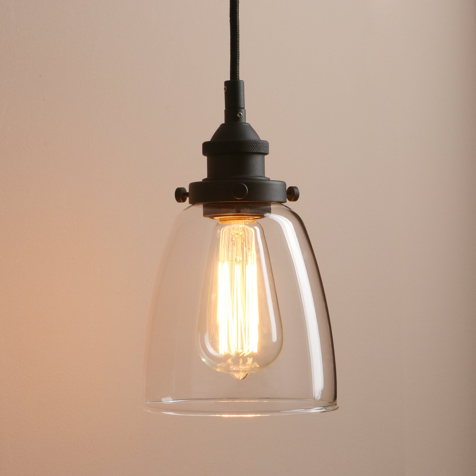 Pathson Retro Pendant Lighting, Industrial Small Hanging Light with Clear Glass and Textile Cord, Adjustable Kitchen Lamp for Hotels Hallway Shops Cafe Bar Flush Mount Ceiling Light Fixtures by Pathson