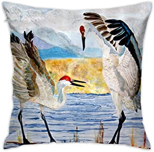 antoipyns Throw Pillow Covers-The Dance Sandhill Cranes Throw Pillow Covers Home Decor Design Set Cushion Case for Sofa Bedroom Car(18 X 18 in)