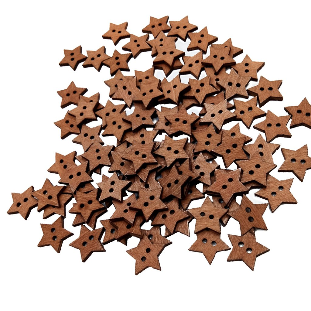 Jili Online 100Pieces Wooden Star Shape 2 Holes Buttons Embellishments Flatback for Sewing Crafting Scrapbooking DIY 18mm
