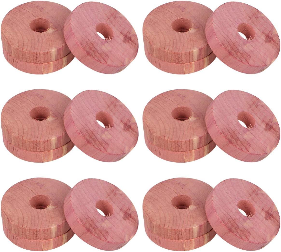 Cabilock 30 Piezas de Anillos de Madera de Cedro Anillos de Protecci/ón de Polillas Perchas de Bolas de Cedro para Muebles de Cajones de Armario