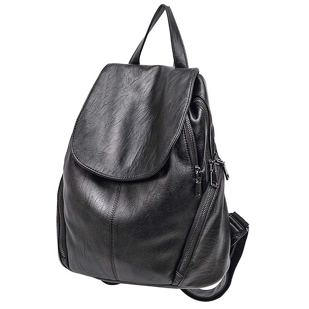 ELOMBR Women's Backpack Purse Pu Leather Ladies Casual Shoulder Bag School Bag for Girls (Black3)