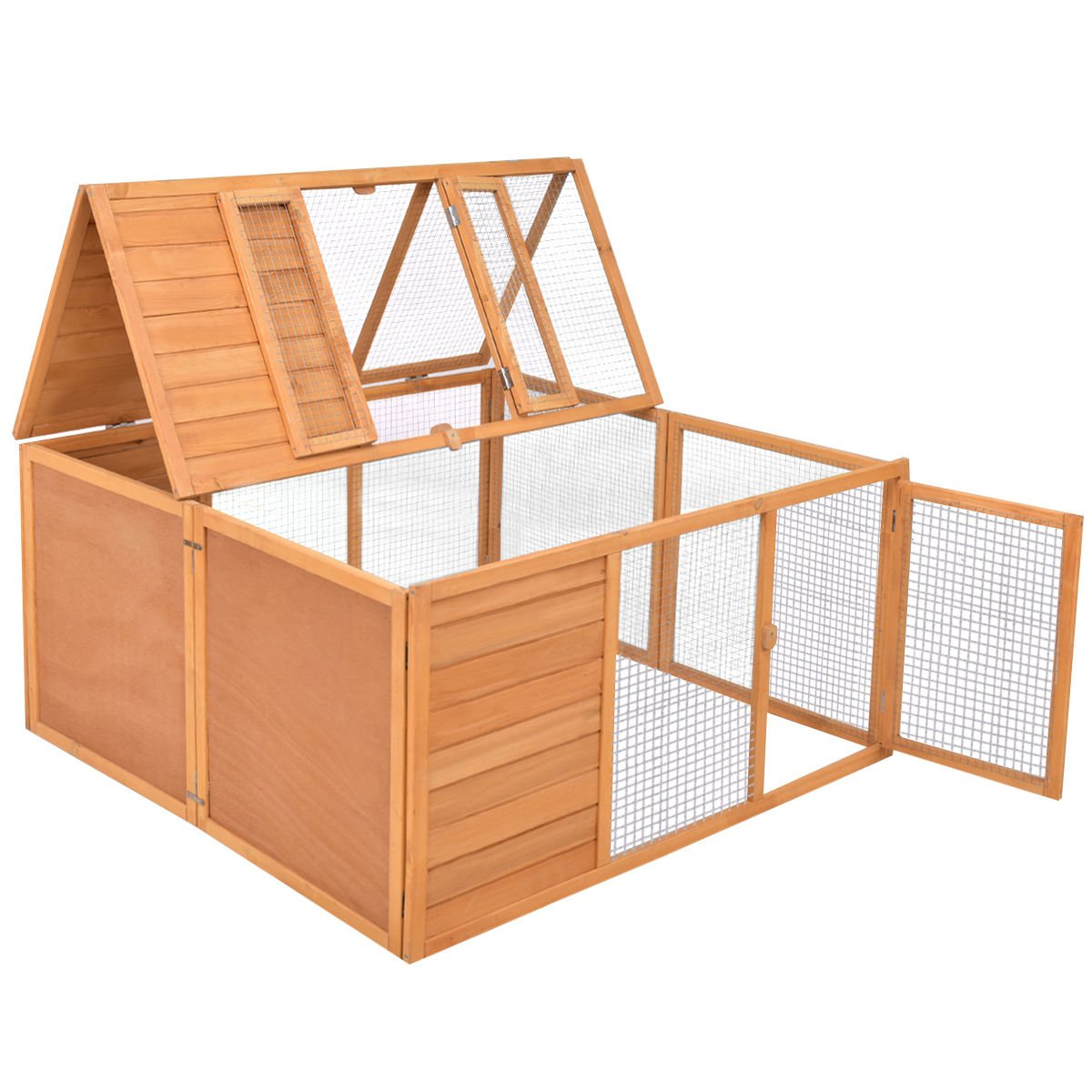 Tangkula Chicken Coop, Wooden Garden Backyard Bunny Chicken Rabbit Duck Small Animals Cage with 2 Doors,Hen House (47'') by Tangkula (Image #1)