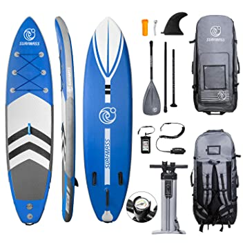 "SURFMASS Inflatable SUP 11 L x 6"" T x 32"" W Stand Up Paddle Board Stance iSUP with Adjustable Fiberglass Paddle, Dual Chamber Hand Pump, Wheeled ..."