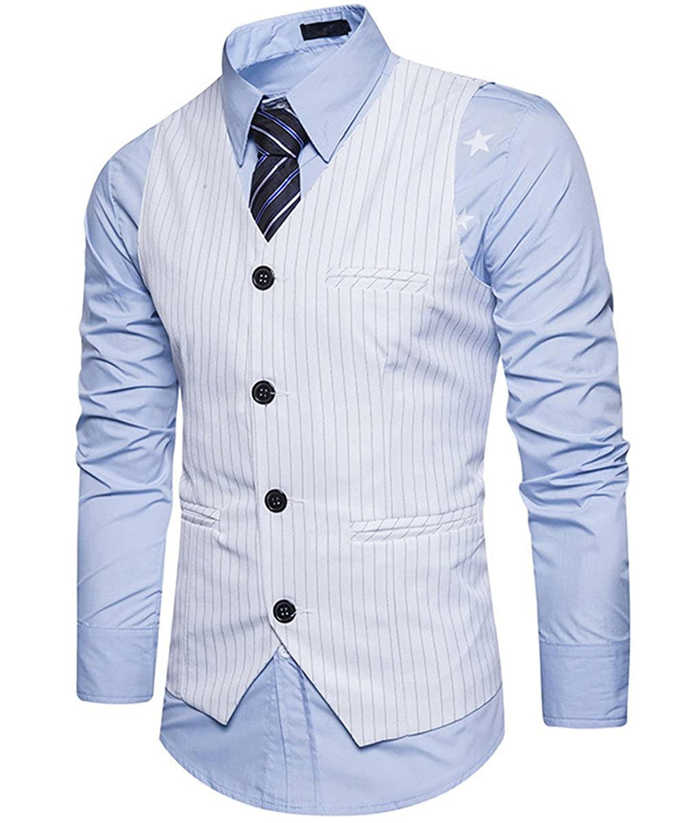 C2S Mens Peak Lapel Double Breasted Strips Handsome Casual Wedding Tux Vest