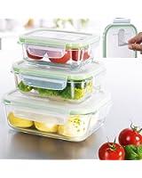Glas-Frischhaltedosen 3er Set Glasbehälter mit luftdichten Frischeverschluss, Vorratsdosen Mikrowellen, Tiefkühl und Spühlmaschinen geeignet Multifunktions Schale Dose ( BPA frei)