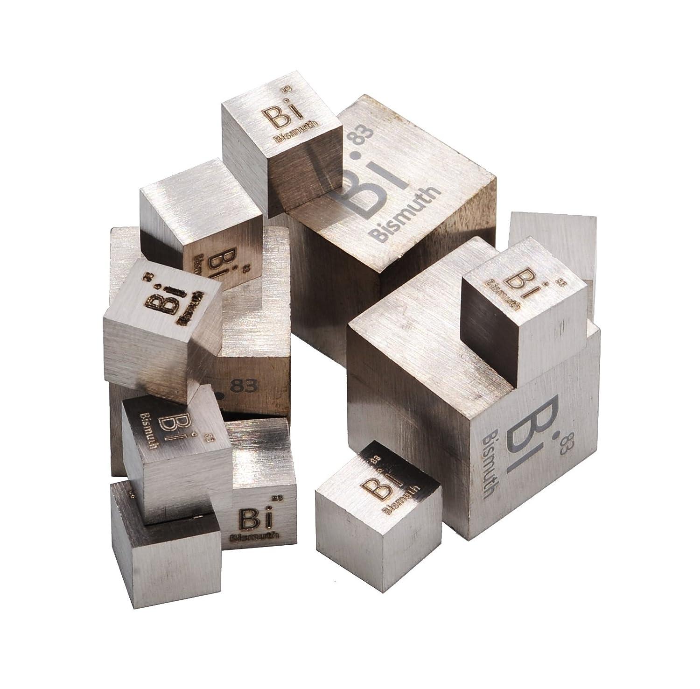 Bismuto cubo de metal 10 mm Densidad 99, 95% Pure Luciteria Science
