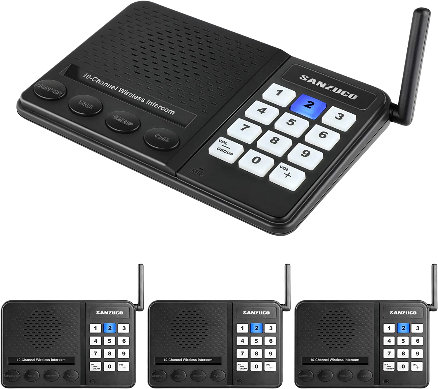 Wireless Intercom System Sanzuco Intercoms Wireless for Home, 10 Channel Wireless Intercom System for Home School Business Office Room to Room Intercom, Home Communication System Pack of 4 Black
