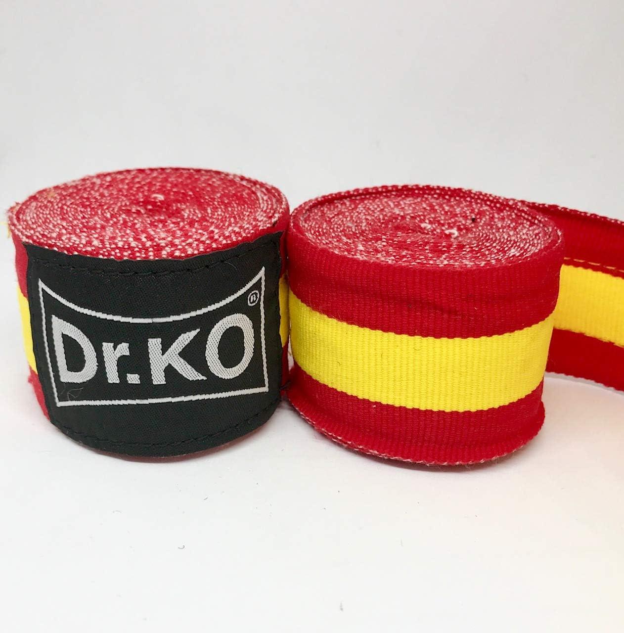 Dr. KO Vendas Boxeo, Kick Boxing, MMA, Muay Thai. Cinta Elástica Mano Muñeca MMA Envolturas Vendaje Bandera de España; 4,5 Metros: Amazon.es: Deportes y aire libre