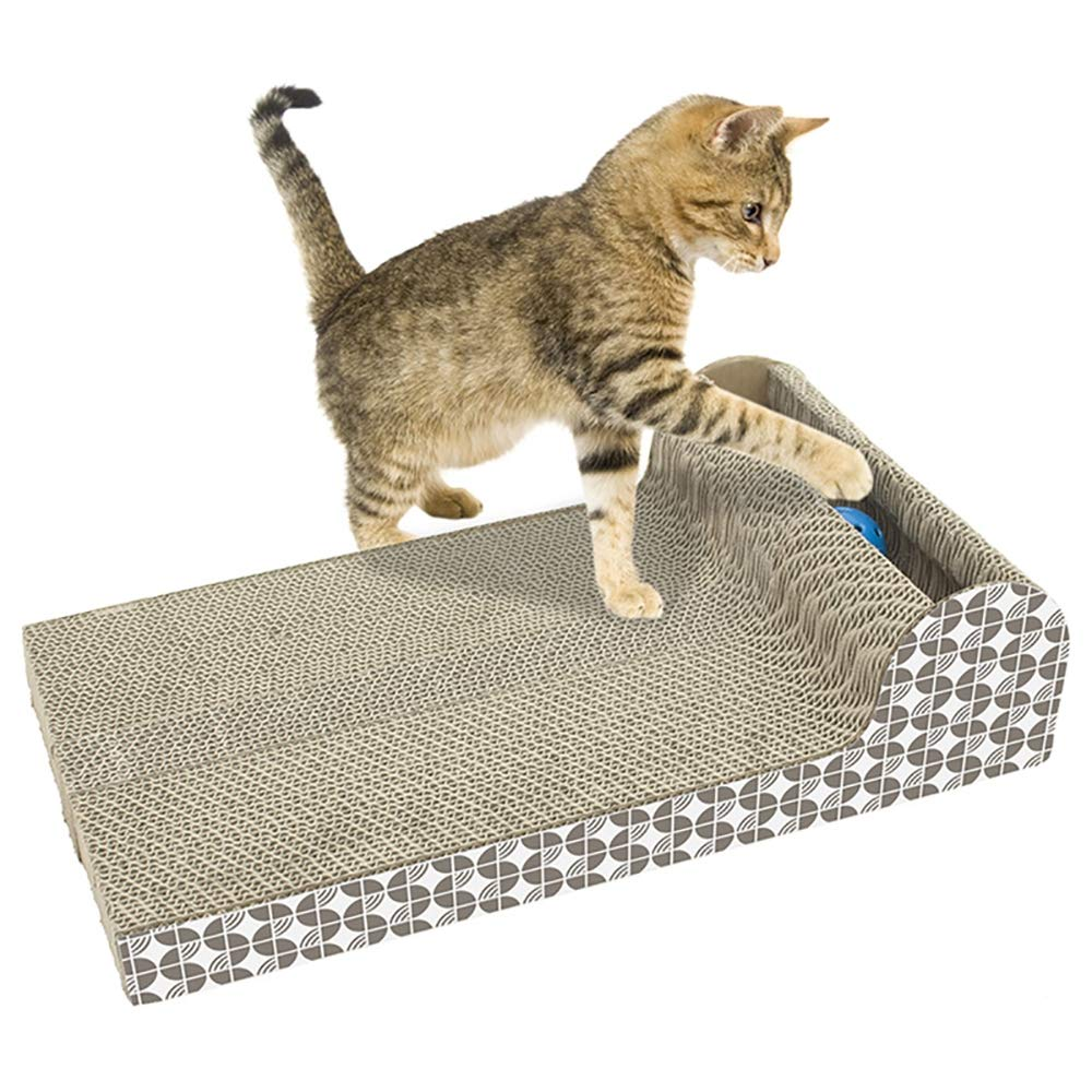 Cat Scratch Board, MShaped Fun Cat Interactive Toy Kitten Corrugated Paper Mat Grinding Nails Pet Supplies
