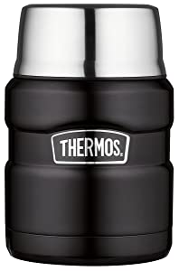 Thermos Stainless King 16 Ounce Food Jar with Folding Spoon, Matte Black