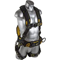 Guardian Fall Protection 21030 Cyclone Construction Harness with QC Chest/TB Leg/TB Waist Belt/Side D-Rings, Black/Yellow
