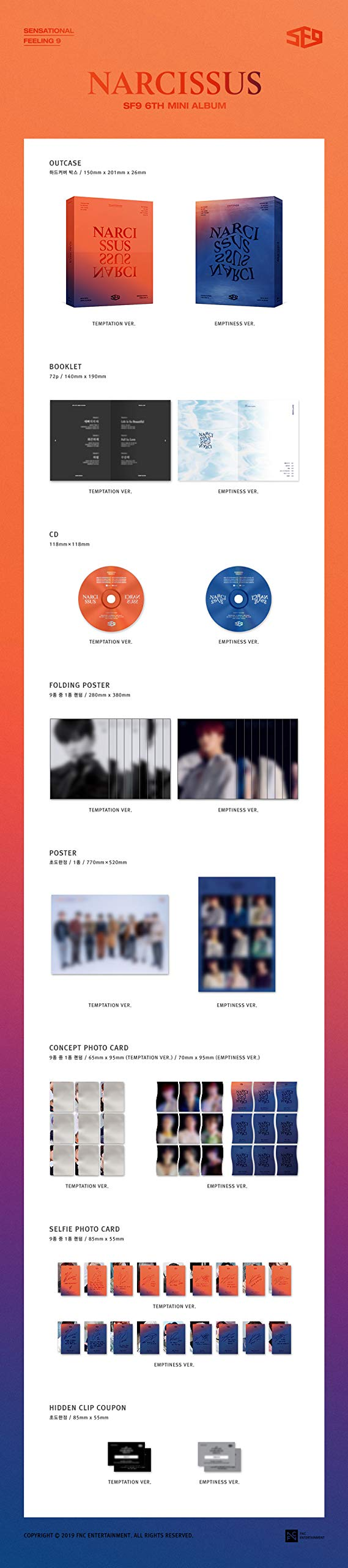K-POP SF9 - 6th Mini Album [Narcissus] (Temptation version) Music CD + 72p Booklet + Concept Photocard + Selfie Photocard + On Pack Poster + Folded Poster + Extra Photocards 4pc + Tracking No by FNC Entertainment