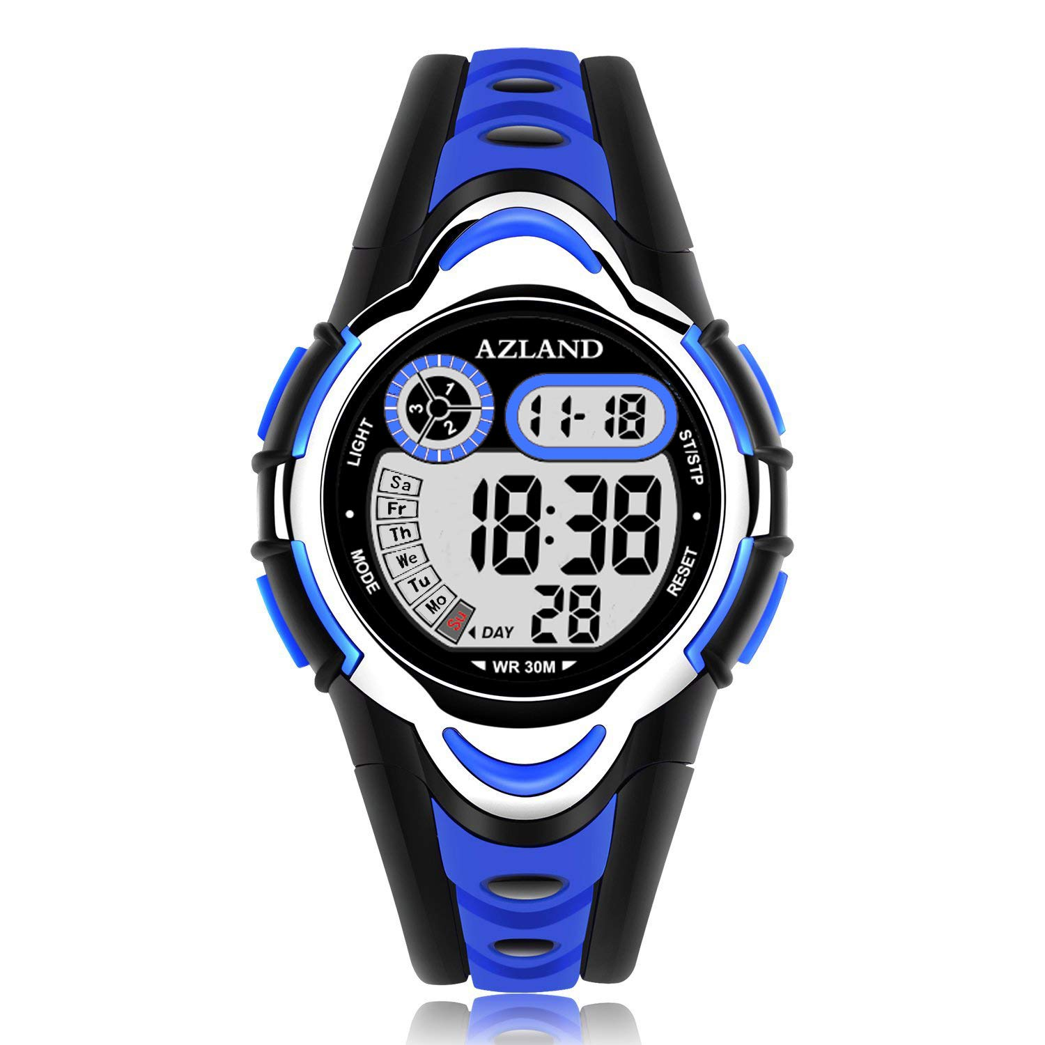 AZLAND Waterproof Swimming Led Digital Sports Watches for Children Kids Girls Boys,Rubber Strap,Blue by AZLAND