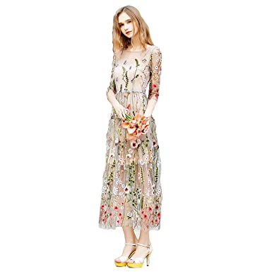 b0dd82bccd8d Image Unavailable. Image not available for. Colour: Angellababy Women's  Embroidered Floral Spliced Tulle Maxi Lace Mesh Hollow Out Cocktail Dresses