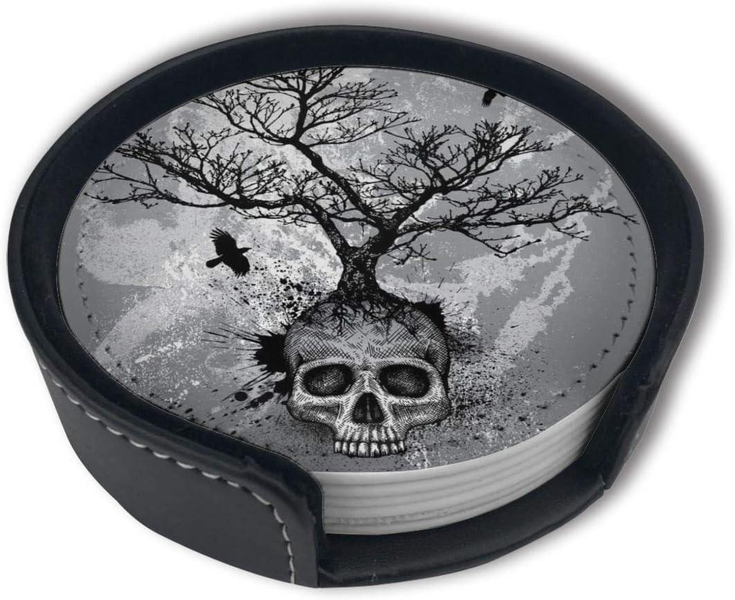 OUYouDeFangA Lot de 6 Dessous de Verre Ronds avec Motif t/ête de Mort et Aigle Noir