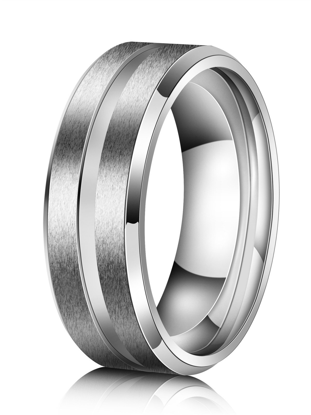 Just Lsy 8mm Titanium Rings for Men Women Beveled Edges High Polished Grooved Center/Matte Finish Wedding Band in Comfort Fit Size 10 Lsy-004