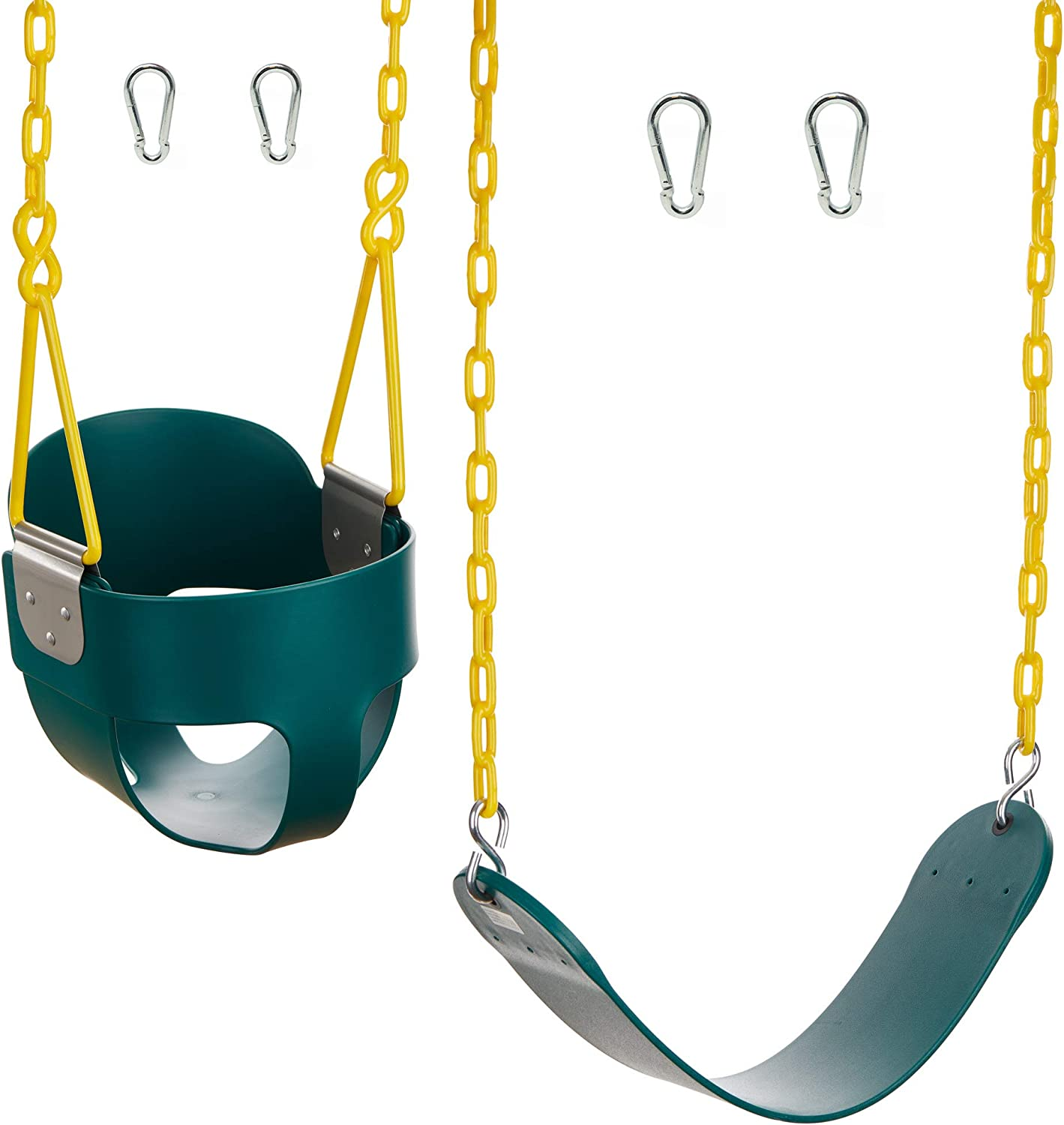 and Heavy-Duty Swing Seat with Carabiners- Green High Back Full Bucket Swing Triangle and Chain Dip Squirrel Products Combo