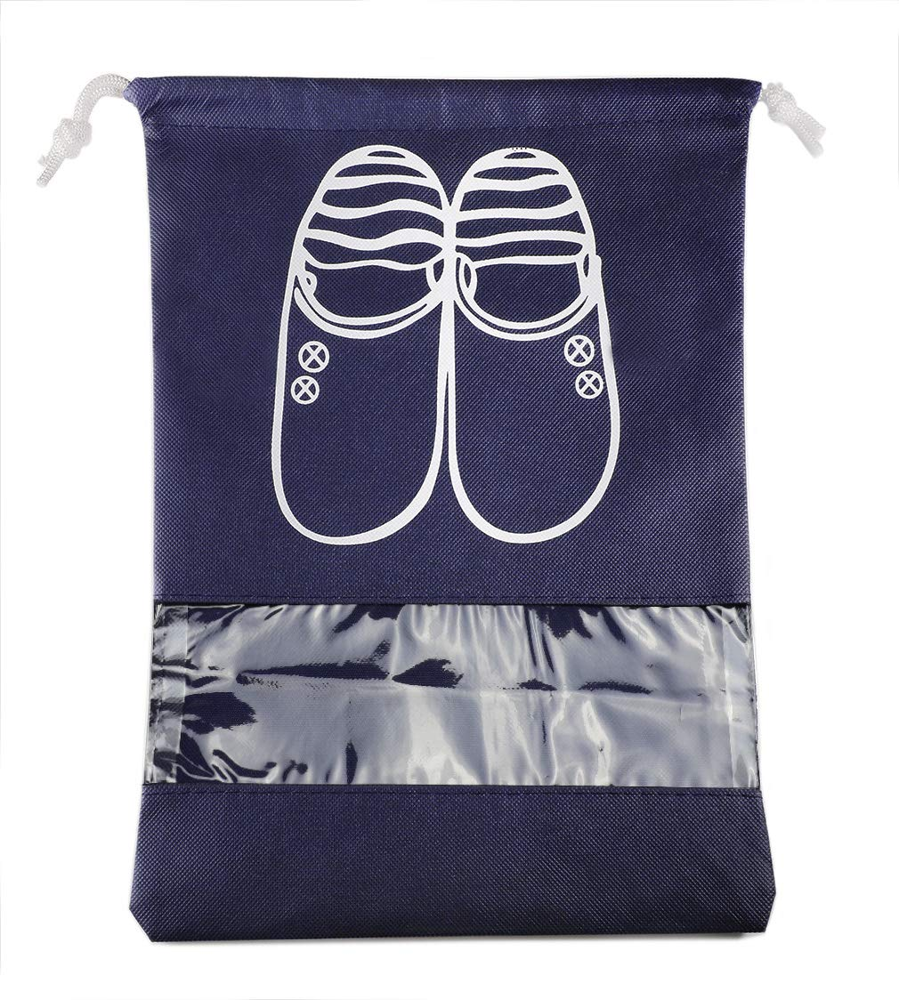 Easylife Shoe Storage Bags Drawstring Pouches Travel Dust-proof Shoe Bags (Large, Navy Blue)