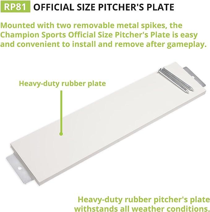 Softball Pitching Mound Rubber Baseball Pro Sports With 4 Spikes Plate Brand New