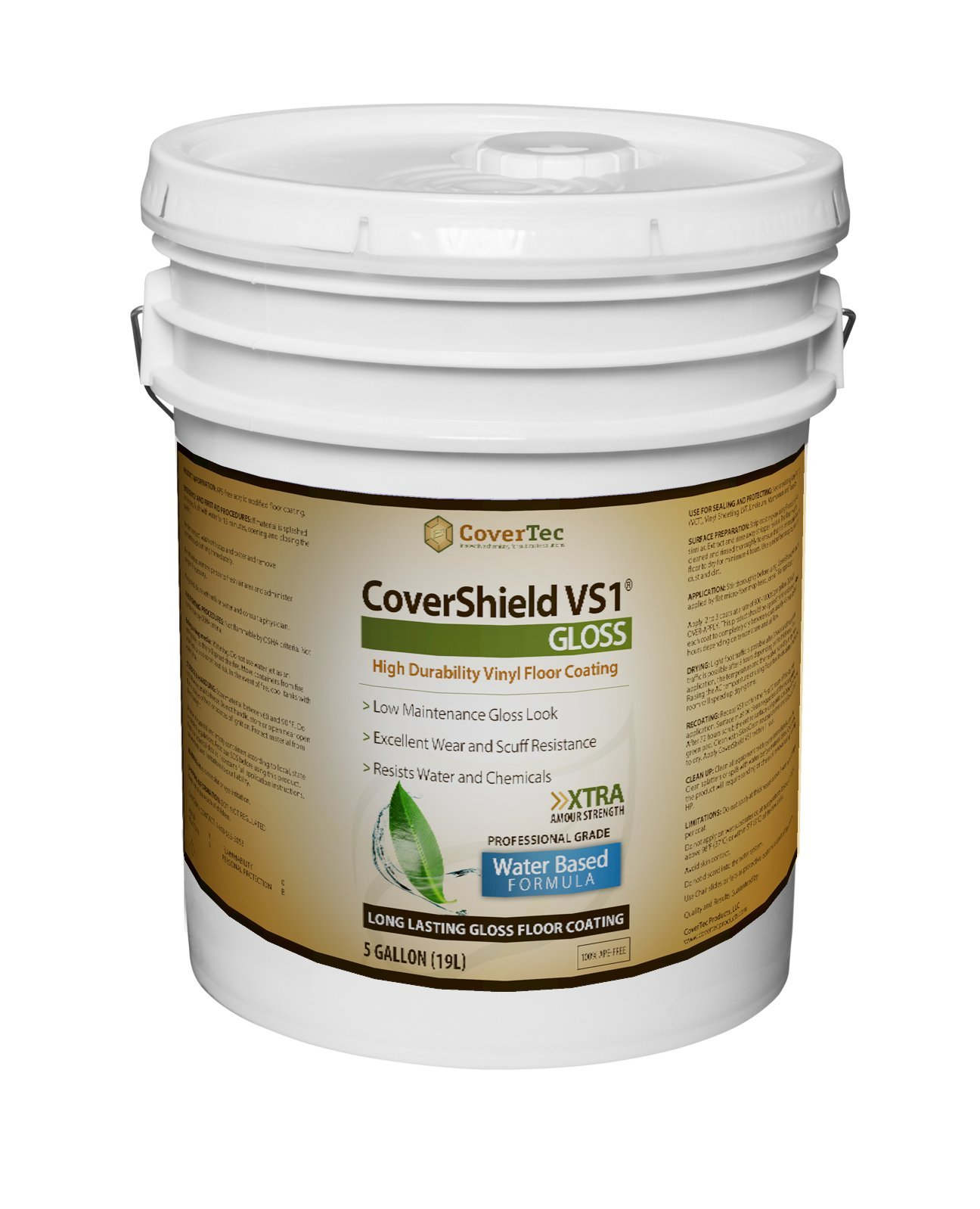 CoverShield VS1 Gloss VCT and Terrazzo Sealer, Fast Drying, Highly Durable, Long Lasting (5 GAL - Prof Grade)