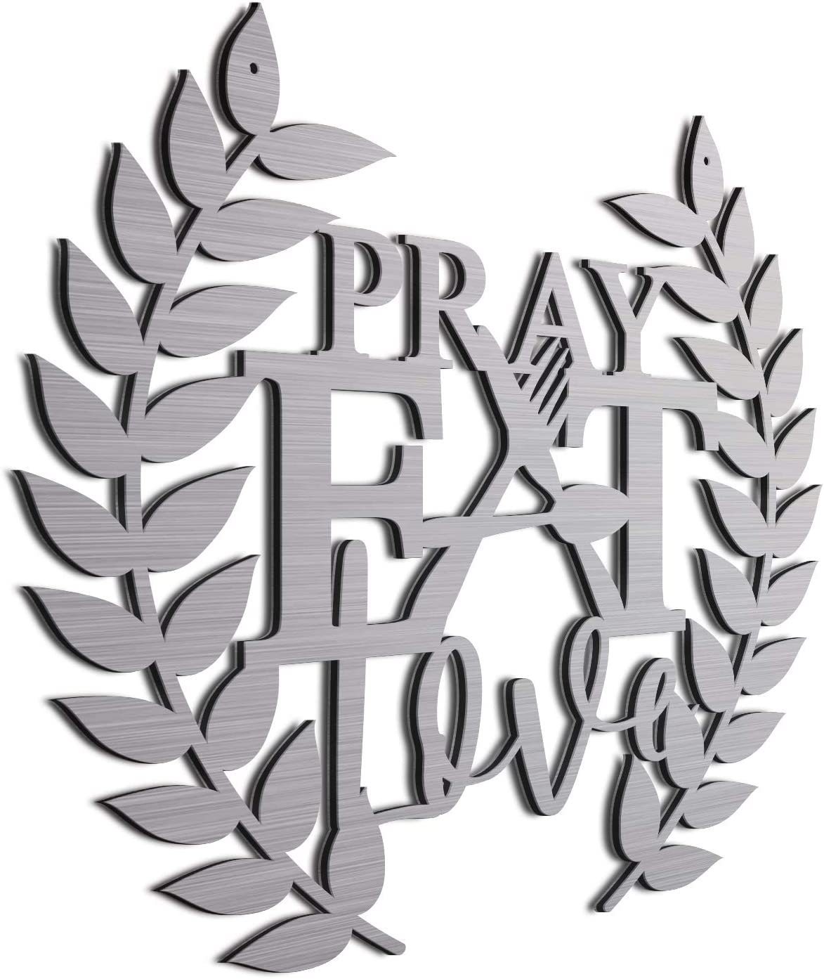 JASS GRAPHIX Brushed Aluminum Farmhouse Kitchen Décor Eat Pray Love Sign for Wall