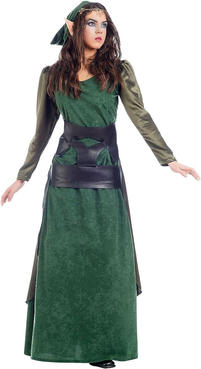 Elbenwald - Disfraz de delfe verde para mujer, 2 piezas, vestido y ...