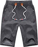 YSENTO Men's Comfy Casual Shorts Flat-Front Shorts Breathable Beach Shorts Zipper Pockets