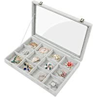 Stylifing Clear Lid Velvet 24 Grid Jewelry Tray Stackable Display Showcase Lockable Organizer Box for Girls Women ¡, 12 Grids, 12 Grid Tray