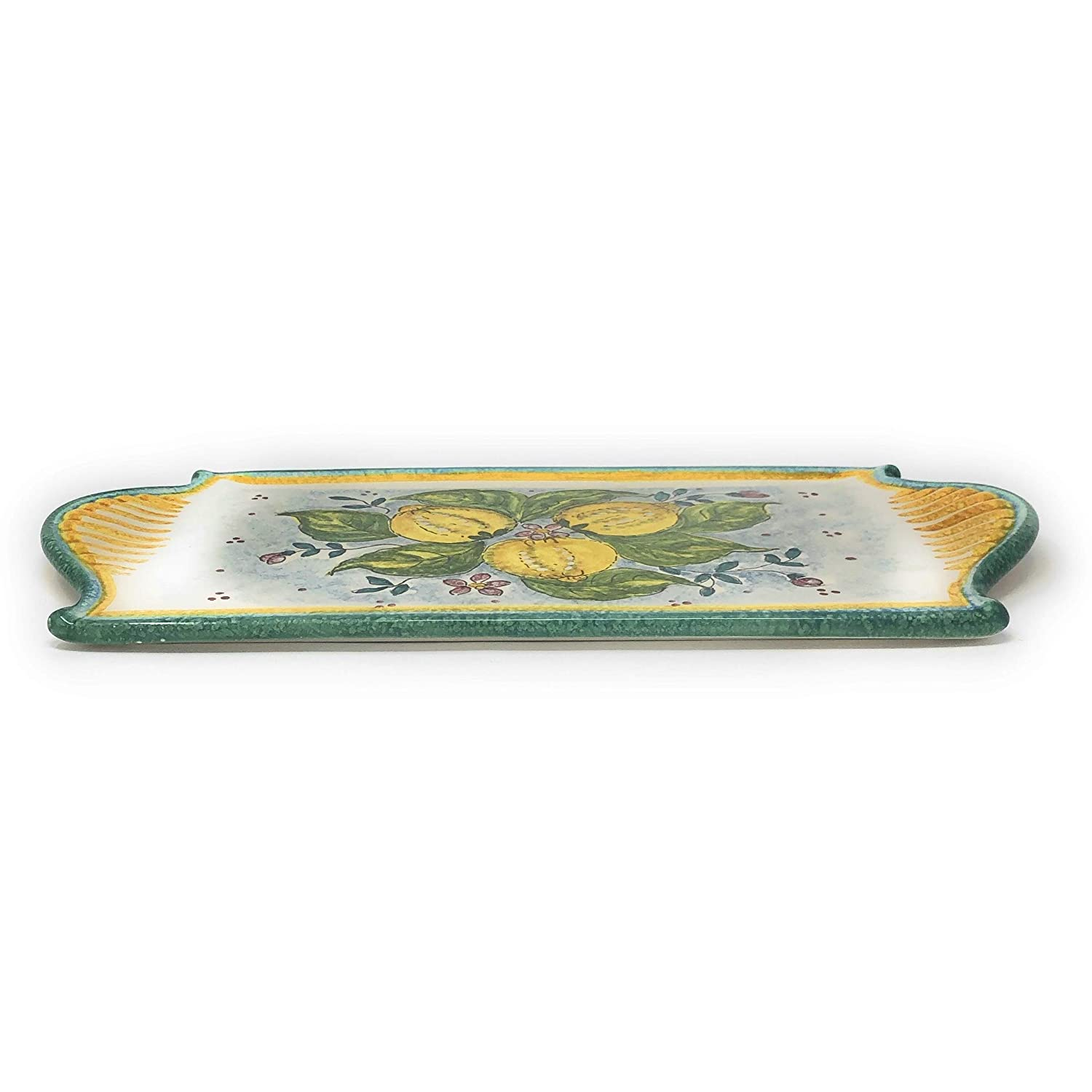 Italian Ceramic Art Cheese Tray Plate Appetizer Centerpieces Decorated Three Lemons Pottery Hand Painted Made in ITALY Tuscan Florence CERAMICHE DARTE PARRINI