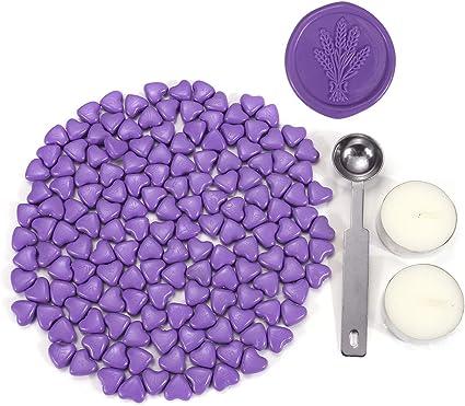 Mogokoyo Set di 150 Pezzi di Perle di Ceralacca a Forma di Cuore con 2 Pezzi Candele di t/è 1 Cucchiaio per Timbro e Sigillo Viola