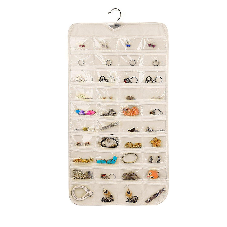 Vercord 80-Pocket Hanging Jewelry Organizer Accessory Storage Holder Double-Sided, Beige