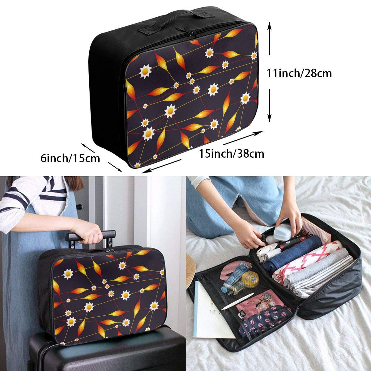 Flower Bud Pattern Orange Travel Lightweight Waterproof Foldable Storage Carry Luggage Large Capacity Portable Luggage Bag Duffel Bag